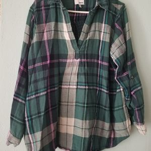 Sonoma flannel shirt green purple 2X